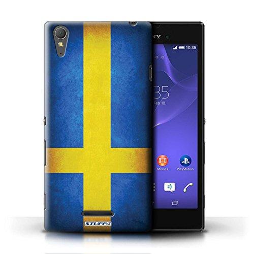 Coque en plastique pour Sony Xperia T3 Collection Drapeau - Brésil/brésilien Suède/suèdois