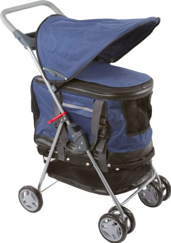 Haustierbuggy / Hundebuggy, All-in-One Hundeautositz / Buggy / Haustiertransporttasche, Blau
