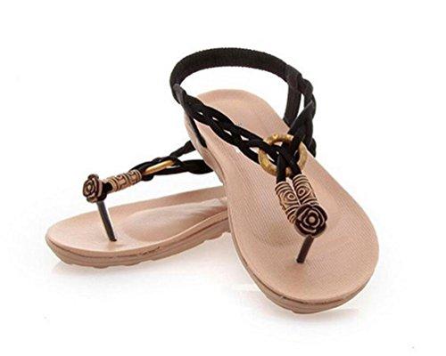 YOUJIA Damen Sommer T-Riemen Perle Pantoffeln Böhmen Thong Flip Flop Schuhe Flache Sandalen Schwarz