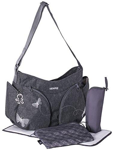 okiedog MONDO 36012 leichte geräumige Wickeltasche mit Schultergurt, viele Fächer, inkl. Kinderwagenhaken, Wickelunterlage, isol. Flaschenhalter, Zubehörbeutel, Papillon grau, ca. 49 x 32 x 19 cm