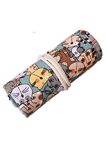Yalulu Leinwand Pencil Wrap, Katze Malerei Stifthalter gefärbt Bleistifte Roll Mehrzweck-Tasche für Schule Büro Kunst für 36/48/72 Buntstifte und Bleistifte (Bleistifte sind nicht enthalten) (72 Löcher )