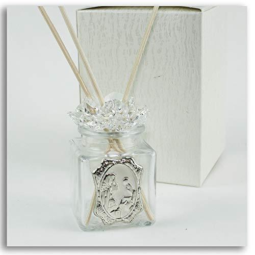 Dlm27548 diffusore barattolo fiore in cristallo bimba prima comunione profumatore bottiglia bomboniera