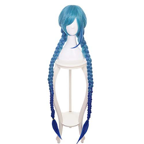 BAOTR Cosplay Perücke Blau Elegant Persönlichkeit Twin Zöpfe Perückenkappe Geeignet für Partys, Alltag, Make-up, Halloween, etc
