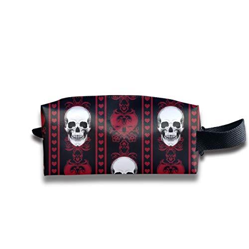 Barock Schädel Streifen Rot Schwarz_9295 Tragbare Reise Make-up Kosmetiktaschen Organizer Multifunktions Tasche Taschen für Unisex -