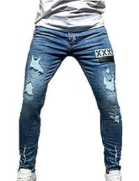 5ab184b47b1bc Pantalones de Mezclilla elásticos Ajustados para Hombre Pantalones con  Orificio de Lavado Claro Hip Hop