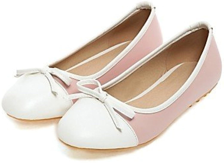 PDX/de zapatos de mujer talón plano punta redonda Flats Casual negro/azul/rosa
