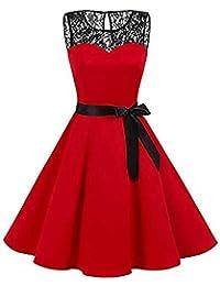 VJGOAL Mujer Primavera y Verano Moda Casual Sin Mangas Lunares Encaje Vintage Hepburn Columpio Cintura Alta Péndulo Grande Vestido Plisado Falda