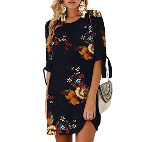 CuteRose Women's Casual Fashionable Loose Sexy Ties Elbow Sleeve Dresses 2 XS Elbow Sleeve Thermal