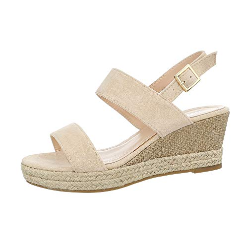 Ital-Design Damenschuhe Sandalen & Sandaletten Keilsandaletten Synthetik Beige Gr. 38 (Einen Sonnigen Tag Kostüm)