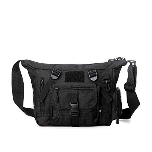 Herren Freizeit Taktischer Sporttasche Brusttasche Bodybag Umhängetasche Crossbag Messenger Bag Schultertasche Bauchtasche,Schwarz