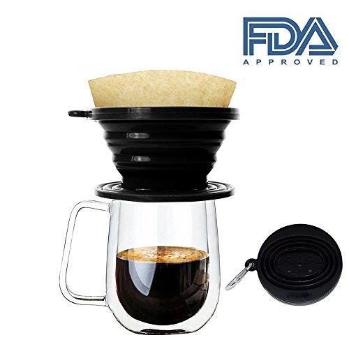 Kaffee-filter Cone (JSS Silikon klappbar kaffee Filter Membran, Lebensmittelqualität Kaffee Tropfer, perfekt für draußen und unterwegs mit gratis Haken Einheitsgröße schwarz)