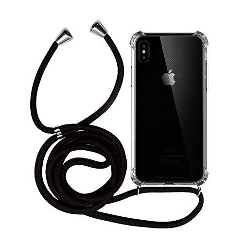 MyGadget Handykette + TPU Hülle für Apple iPhone XS Max mit Band zum Umhängen - Handyhülle Halskette Kordel Schnur Case Necklace Schutzhülle - Schwarz