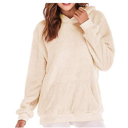 MYMYG Kapuzen Damen Kapuzenpullover Long Teddy Hoodie, Lang Geschnittener Teddy-Fleece-Pullover mit Hohem Kragen Känguru -Tasche(C1-Beige,EU:48/CN-2XL)