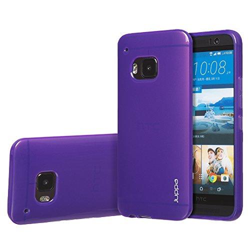 Juppa® HTC One M9 5,0 Zoll 2015 Smartphone TPU Silikon Tasche Hülle Schutzhülle mit LCD displayschutzfolie und Mikro-Reinigungstuch - Rot / Red Lila