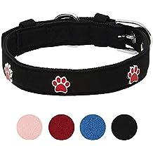 Umi. by Amazon - collare per cani con motivo con zampe, nero, con fibbia in metallo, collo 33-42 cm, per cani di taglia media