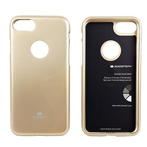 Premium Jelly Case Gummihülle Silikonhülle Gummi Silikon Schale Schutzschale Schutzhülle Hülle für iPhone 8 / iPhone 7, mit eingearbeitetem feinem Glitzerstaub (Transparent) Goldig