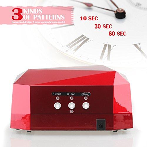 Gellen 36W professionelles UV CCFL LED Lichthärtungsgerät Diamantform mit Timer (10sek, 30sek, 60sek) und Eischaltautomatik Lichtschranke UV-Lampe LED-Lampe Nageltrockner Nagellampe,rot - 3