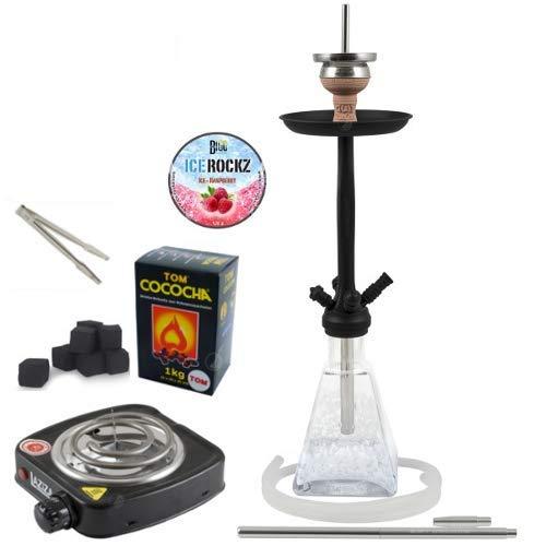 Amy Deluxe Shisha Set con Shisha Aero-X klick II, carbón Encendedor, carbón Natural, Chimenea, Piedras de Vapor y una pequeña...