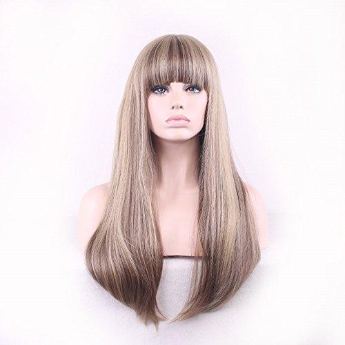 Damen lange Perücke mit ordentlicher Knall Gerade Pony synthetische Haar Perücke Multifarbe 70cm (Taobao Cosplay Kostüme)