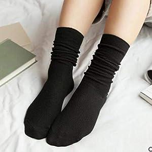 Formulaone Herbst-Winter-Weinlese-Mittelmädchen-Frauen-Socken-Breathable Art und Weise beiläufige Reine Farben-Baumwollmittelsocken – schwarz