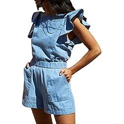 JERFER Combinaison Femme Combi-Short en Jean sans Manches à Volants Combi-Pantalon Jumpsuit Rompers
