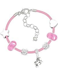 Mädchen Einhorn pink Leder Charm Armband Set und Grußkarte Geschenk-Box Set Schmuck