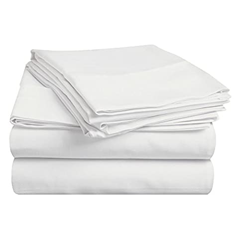 Superior 100% Premium Long-Staple Combed Cotton 400 Thread Count Deep-Fitting Pocket Soft and Smooth 4 Piece Sheet Set, Double, Solid