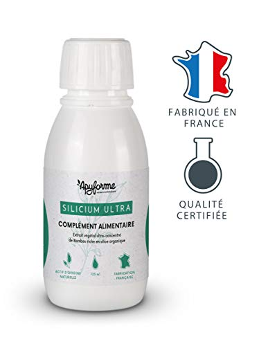 Silicium Organique Ultra • 125 ml Correspondent à 5 Litres de Silice • Complément Alimentaire 100% FRANÇAIS • Cure de 30 Jours 1 c. à c. /jour • Fabriqué et Conditionné en France par Apyforme