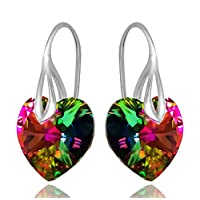 Heart Earrings Royal Crystals Sterling Silver Drop Pierced with Crystals from Swarovski