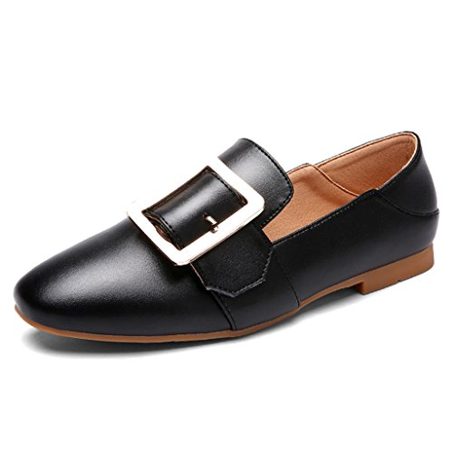 HWF Scarpe donna Spring Shallow Mouth Single Female Square Buckle Flat Square Head Scarpe casual Scarpe da donna pigri ( Colore : Beige , dimensioni : 35 ) Nero