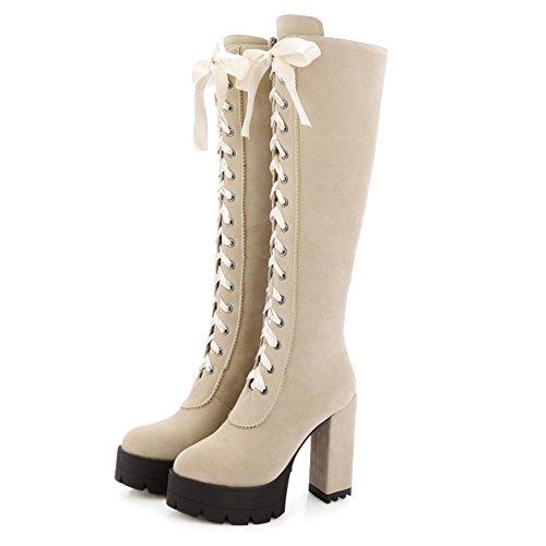 COOLCEPT Damen Klassischer Fransen hohen Absätzen Plateau Schnürung knie Hoch stiefel Blockabsatz Stiefeletten Beige