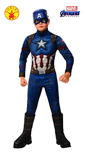 Kostüm Captain Kind America - Rubie's Offizielles Avengers Endgame Captain America, Deluxe-Kinderkostüm, Größe M, Alter 5-7, Höhe 132 cm