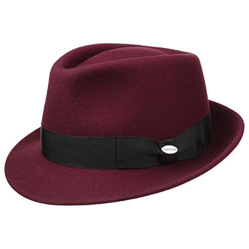 Chapeau Trilby Classique Mayser chapeau de feutre chapeau pour homme, Bordeaux, 55