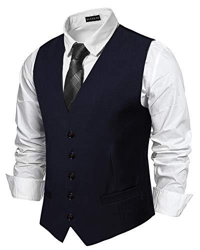YCUEUST Chaleco Hombre Boda V-Cuello Traje Negocios con Botones Blazers Slim Fit Azul Large