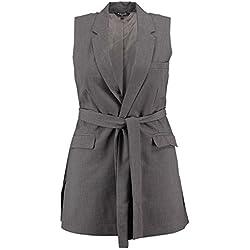 MS Mode Damen, Ärmelloser Blazer, Grau, EU 52