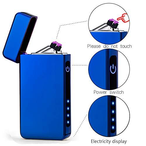 suroper Accendino Elettrico al Plasma USB Ricaricabile Senza Fiamma Doppio Arco Antivento Sigaretta Accendino Resistente e Sicuro (Blu)