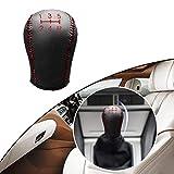 Tuqiang® Hand nähen Rutschfest Leder Schaltknauf Abdeckung Schaltgetriebe 5 Gang für Focus Fiesta Mondeo Auto Styling Rote Linie Typ H