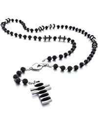 MunkiMix Stainless Steel Rubber Pendant Necklace Silver Tone Black Cross Virgin Mary 27 Inch Rosary Chain Men ,Chain