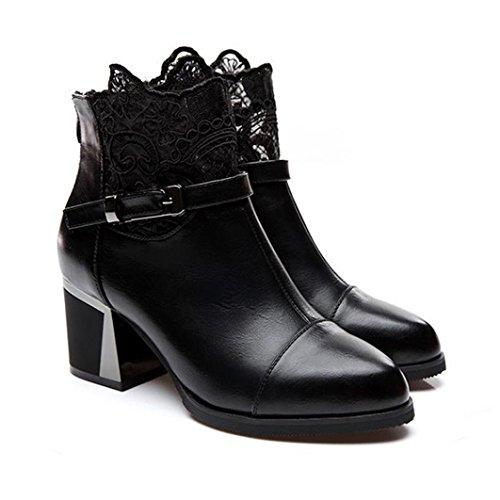 Feixiang stivali donna donne ladies metal fibbia zip plaid pizzo grosso stivali moda scarpe comode,cuoio artificiale,gomma (eu38, nero)
