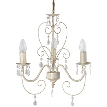 shabby chic lighting. cream ornate vintage style shabby chic 3 way ceiling light chandelier with beautiful acrylic jewels lighting