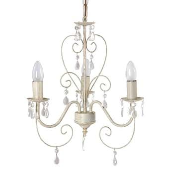 MiniSun Lustre, Suspension, Chandelier 3 branches. Vintage, peinte à la main - fini or brossé sur blanc cassé aux pampilles de cristaux (acrylique)