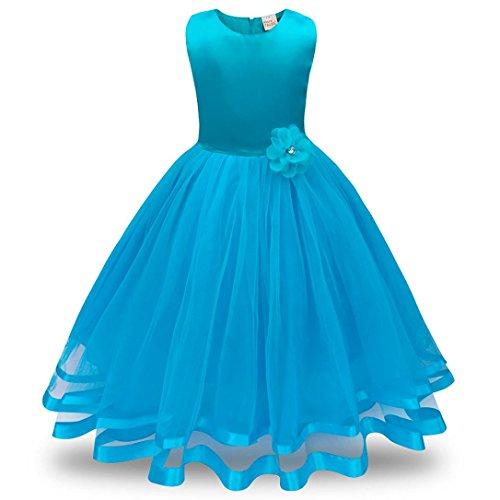 ❤️Kobay Blume Mädchen Prinzessin Brautjungfer Festzug Tutu Tüll-Kleid Party Hochzeit Kleid (Hellblau, 120/4 Jahr)