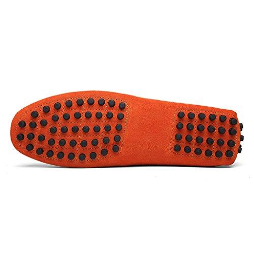 Eagsouni® Herren Mokassin Bootsschuhe Wildleder Loafers Schuhe Flache Fahren Halbschuhe Slippers Orange