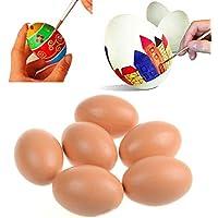 Mioloe 3 Piezas Artificiales Huevo maniquí Pascua Huevo Fiesta Boda casa decoración Juguete de Huevo de plástico