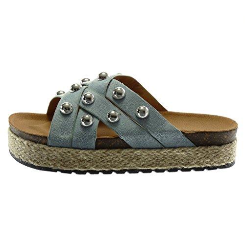 Angkorly Scarpe Moda Mules Sandali Slip-On Zeppe Donna Perla Borchiati Cinghie Incrociate Tacco Zeppa Piattaforma 4 cm Blu