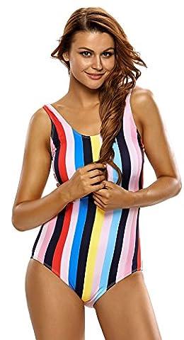 La Vogue Vertical Stripes Bathing Suit Lace Up Back One Piece Swimsuit Multi UK 12