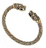Viking Dragon Head metal vite con nodo celtico bangle e Lega, colore: Antique Gold