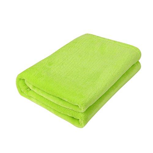 FiedFikt Decken Flanell Decke Kindergröße leicht super weich kuschelig Bettdecke Microfaser massiv warm Koralle kariert 1 Stück grün -