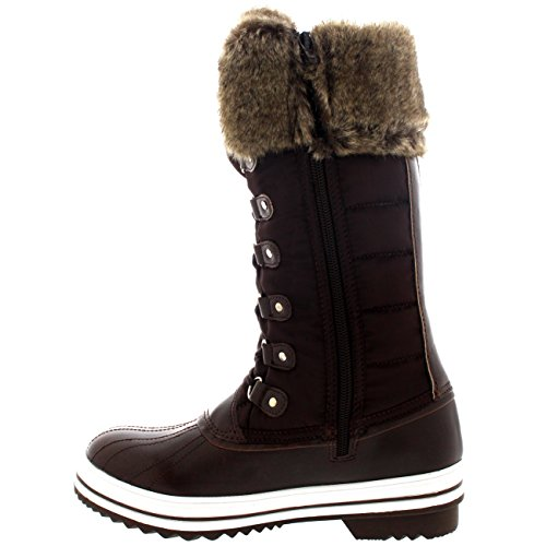 Damen Nylon Warm Side Zip Pelz Ente Dreck Schnüren Regen Winter Schnee Stiefel Braun
