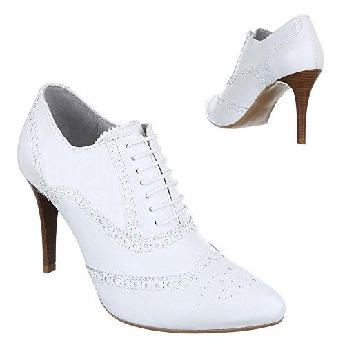 Damen Schuhe, 5592, STIEFELETTEN LEDER HIGH HEELS PUMPS Weiß